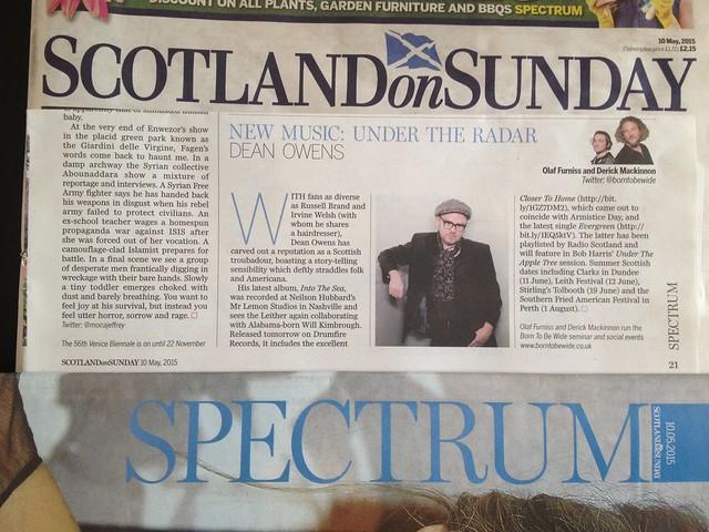 Olaf Furniss and Derick Mackinnon Scotland On Sunday, Spectrum Magazine 10 May 2015, Dean Owens