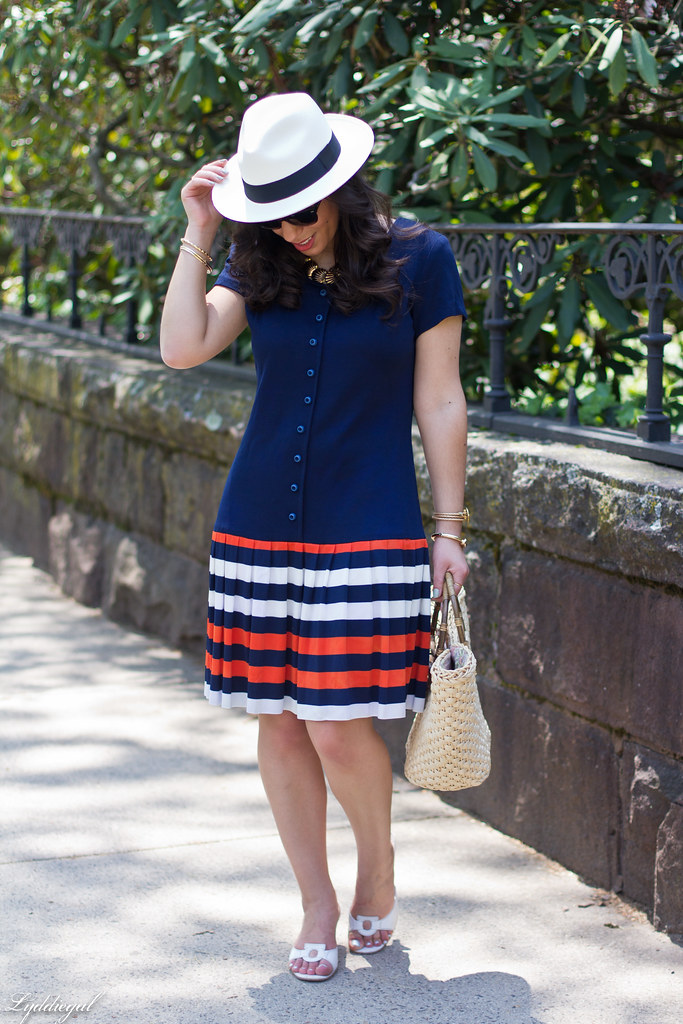 navy drop waist dress, panama hat, straw bag-3.jpg