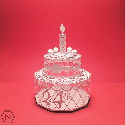 Dimensional Cut Paper Birthday Cake by Norman Von Schmeling