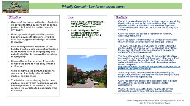 Friendly Counsel – Law for non-layers course