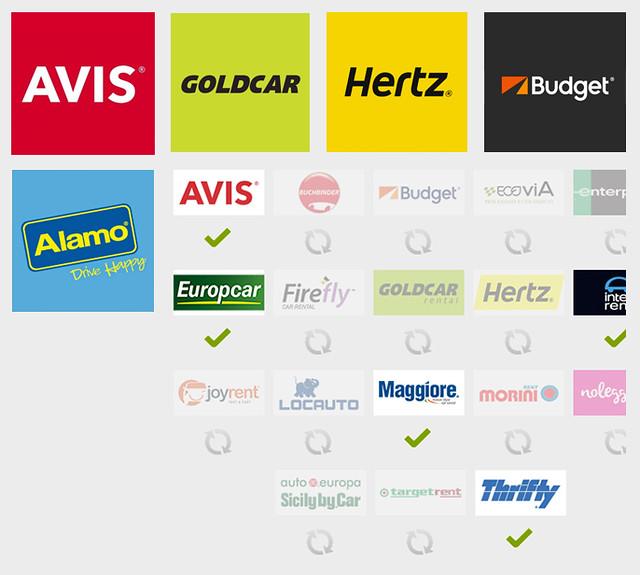 Compañías de alquiler de coches en Italia como Europcar, Avis, Hertz, Alamo, etc
