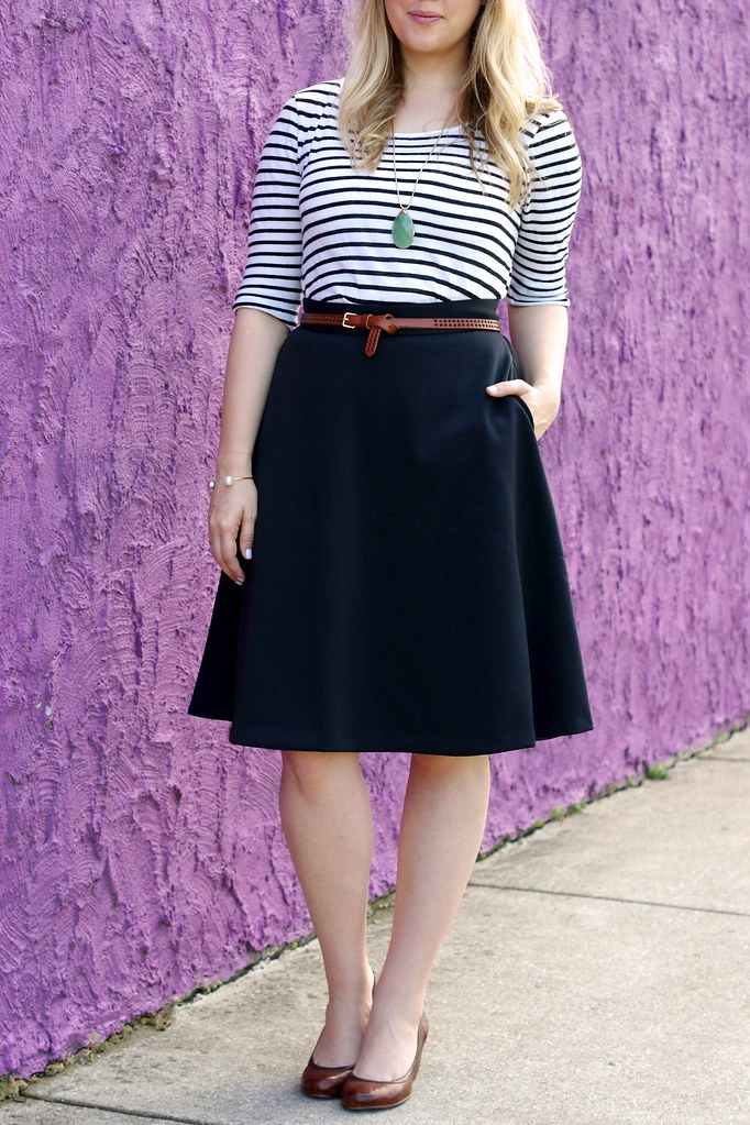 black midi skirt with stripes and cognac