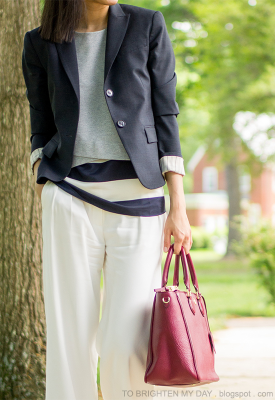 navy blazer, gray cropped vest, striped top, white trousers, purple-red tote