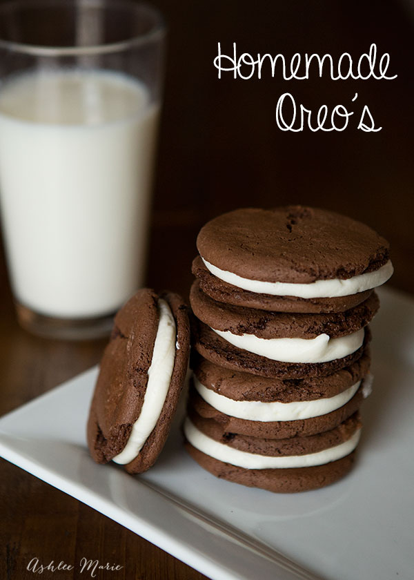 Homemade Oreo cookies, filled with cream cheese frosting, are easy to make and delicious
