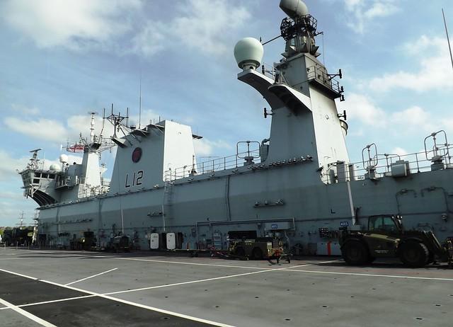 Flight Deck & Island on HMS Ocean L12 (1) @ Greenwich 10-05-15