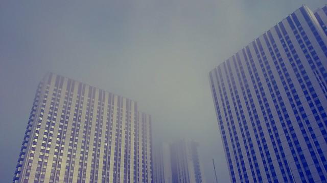 Густой туман в столице.
