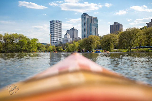 Kayaking towards Downtown Milwaukee