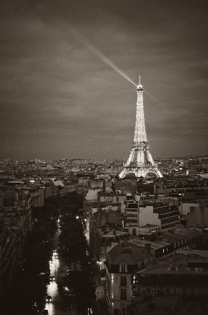 Eiffel Tower at night, in black and white | Flickr - Photo ...