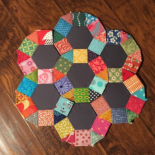 126:365 Big pieces are done. Now to piece it all together. And decide pillow or mini quilt... #epp #scraps #englishpaperpiece
