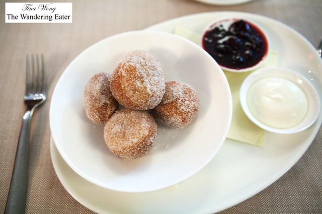Bomboloni - vanilla sugar donuts, blackberry jam, honey ricotta
