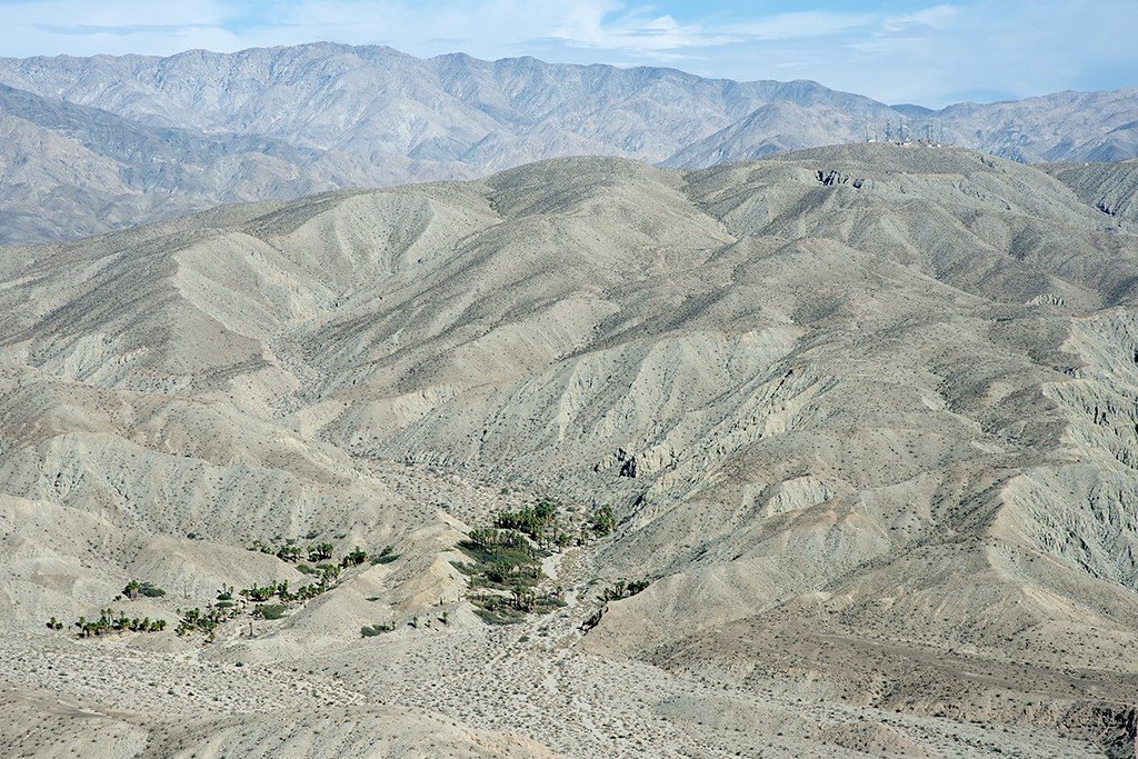 Aerial view of Macomber Palms Oasis and the Mission Creek Strand of the San Andreas Fault, Indio Hills, Riverside County, California
