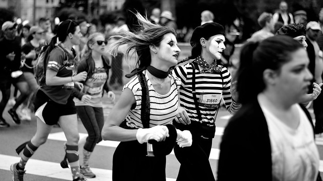 Mimes Running Against the Wind