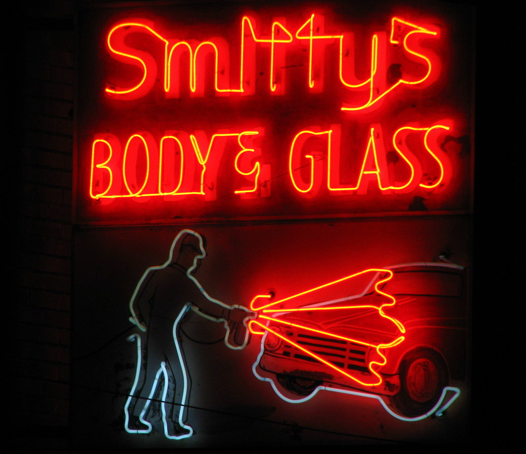 Smitty S Body Amp Glass Neon Sign At Night Located In