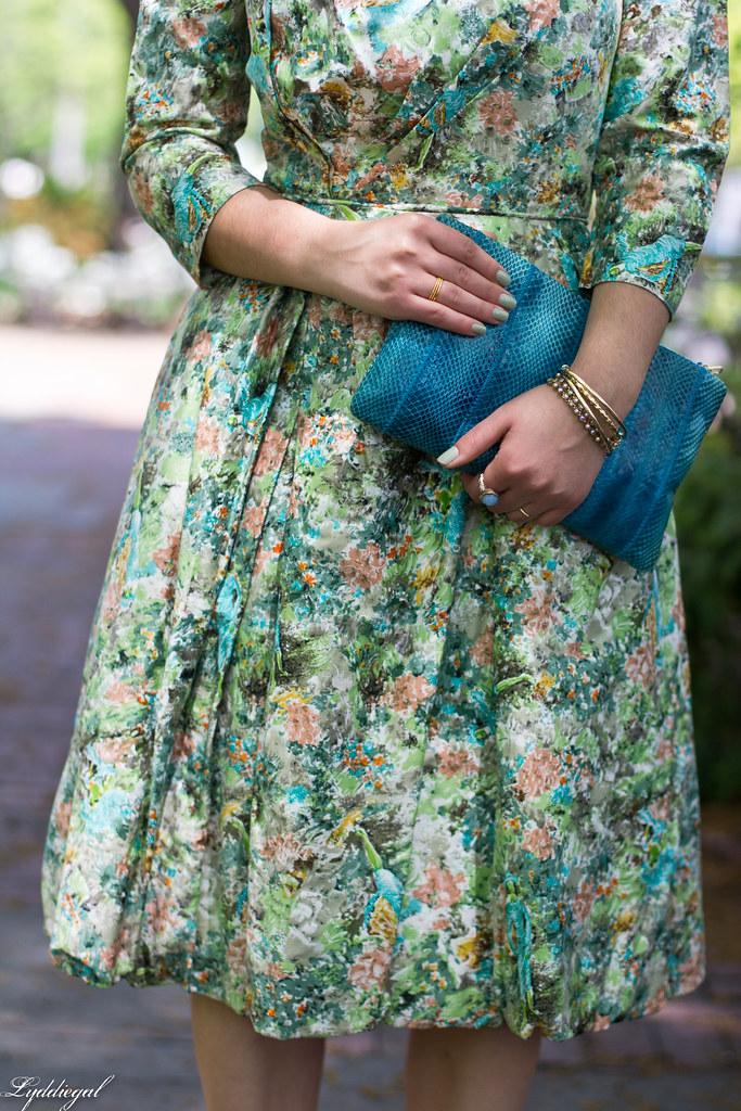 vintage floral dress, turquoise snake skin clutch-5.jpg