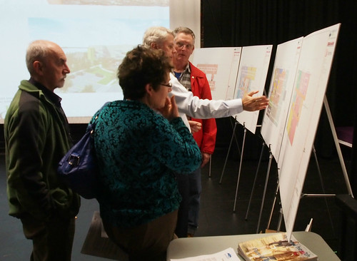 NIHP Chief Project Officer Tom Sparrow discusses floor plans for the new Campbell River Hospital at the March 12, 2015 Campbell River community information meeting in the Timberline Secondary/NIC Theatre.