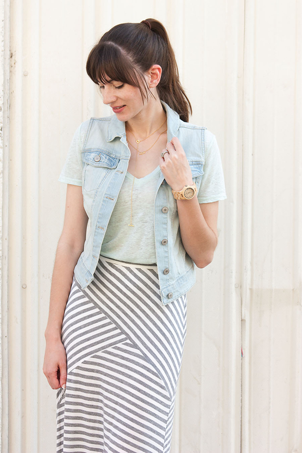 Gorjana Necklace, Jord Watch, Striped Maxi Skirt, Denim Vest