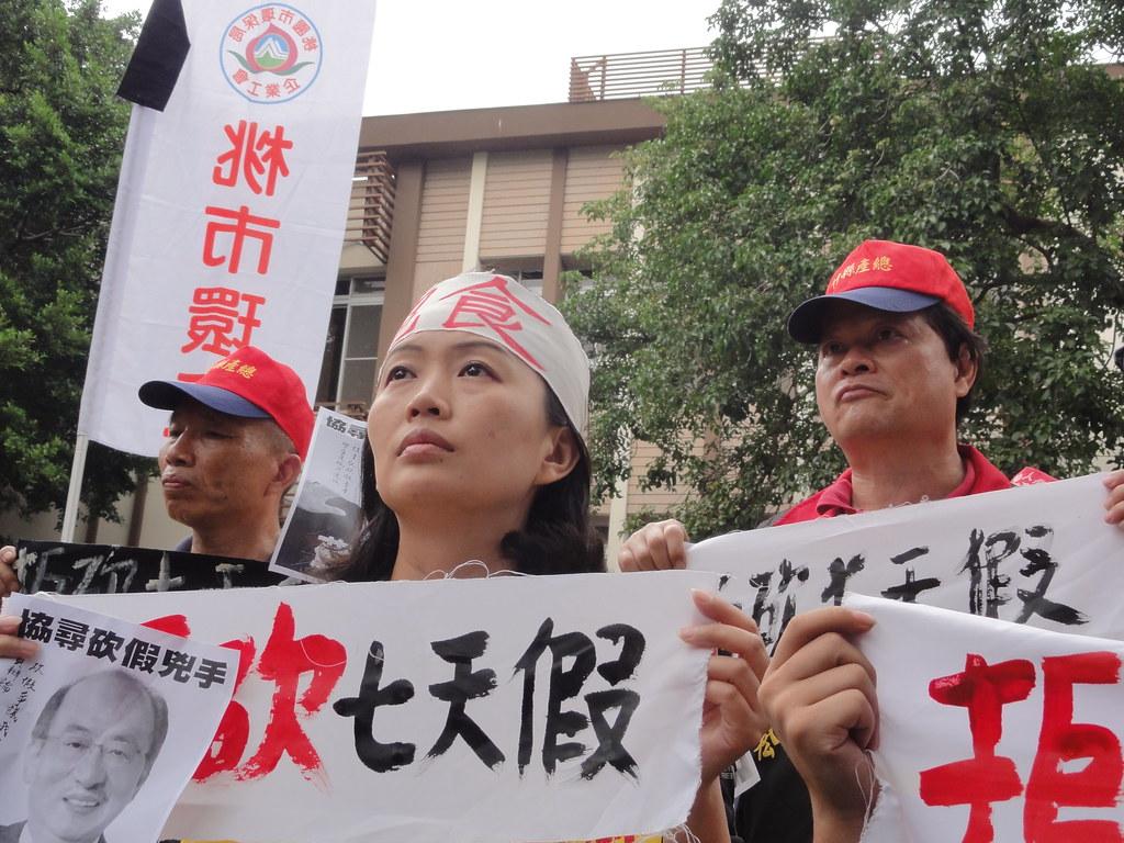 仍在等待民進黨政府回應訴求的絕食工人。(攝影:張智琦)