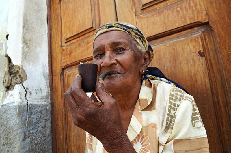 Pipe smoker, Mindelo, Sao Vicente, Cape Verde