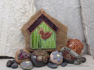 Mosaic Flowers and Birds Garden Stones | by Chris Emmert