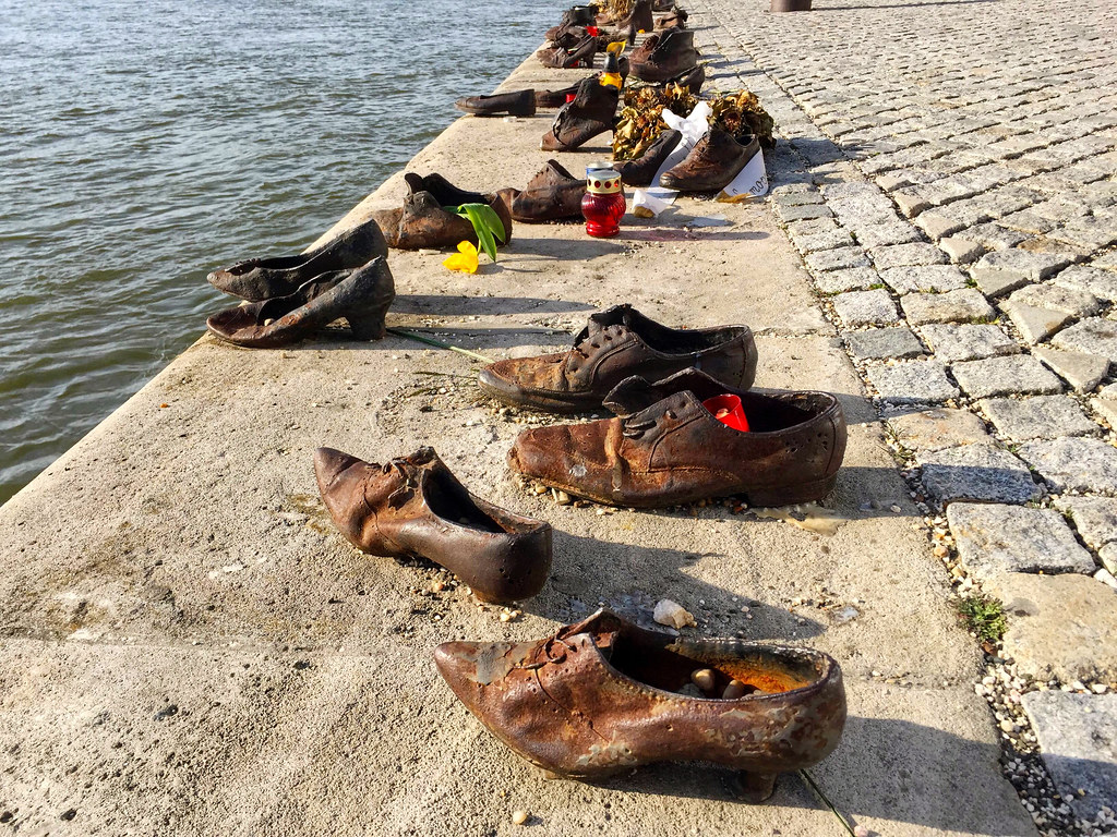 Shoes on the Danube Bank memorial in Budapest, Hungary