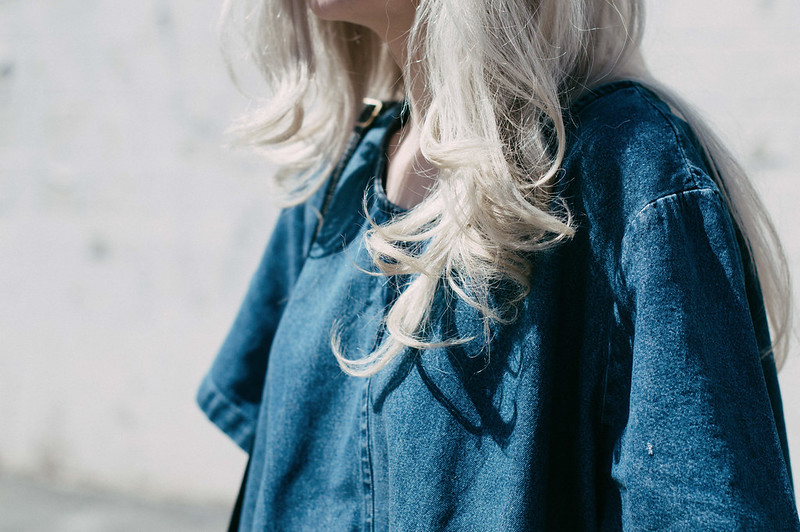 Silver hair and denim shirt on juliettelaura.blogspot.com
