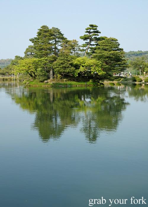 Kasumigaike Pond at Kenrokuen Garden in Kanazawa, Japan