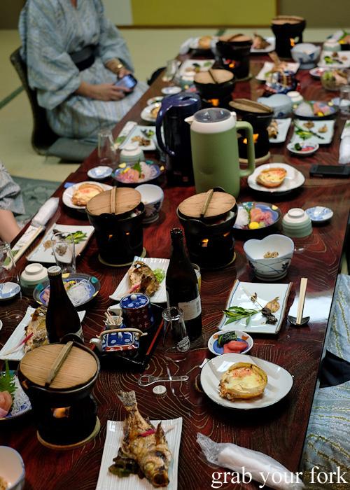 Traditional ryokan kaiseki dinner at Nakayasu Ryokan, Kanazawa
