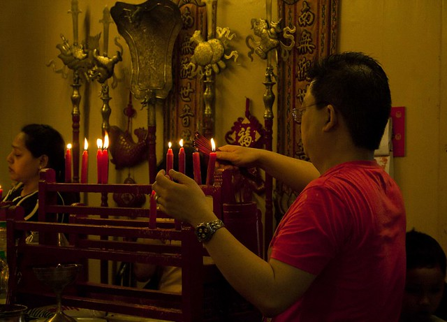 Chinese Man Offering Prayer - Chinese New Year 2015, Kolkata, India