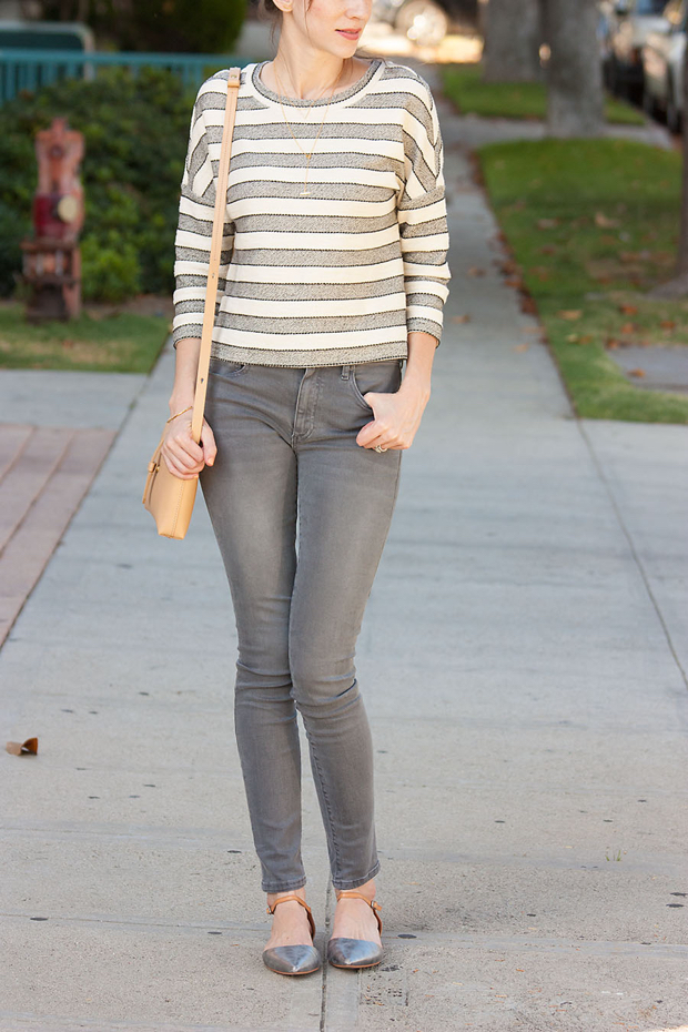 Grey Denim, Striped Cropped Top, Crossbody Bag, Neutrals