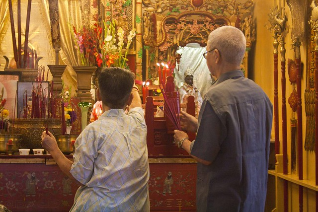 Chinese Oldage Couple Offering Prayer - Chinese New Year 2015, Kolkata, India