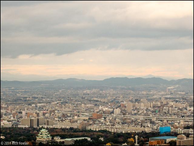 Nagoya Skyline and Nagoya Castle from the Midland Tower