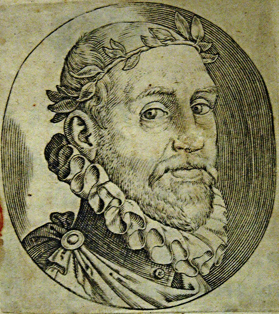 "Portrait of Torquato Tasso (Sorrento 1544-Rome 1595) - etching from ""Gerusalemme Conquistata"" by Torquato Tasso, Rome 1593 - Temporary exhibition at National Library of Naples"