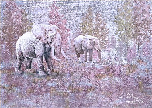 Image of two elephants composited into a painted background