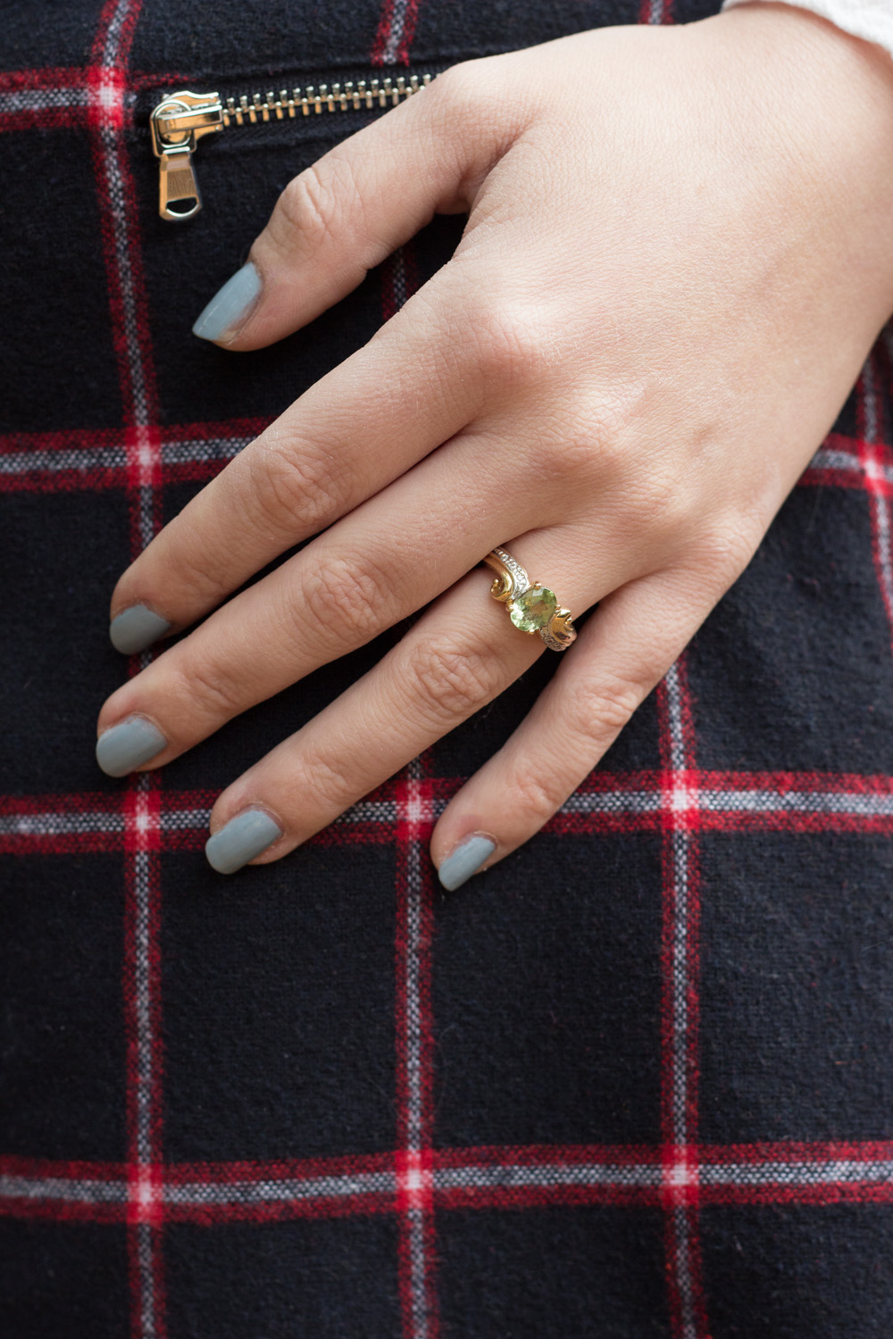 Gold and Green Garnet Engagement Ring, Sky Blue Nails, Plaid Skirt