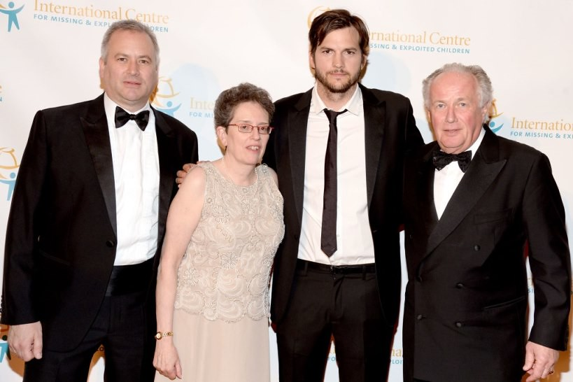 Tim Cranton, Maura Harty, Ashton Kutcher, Franz Humer==.In International Centre for Missing & Exploited Children's Inaugural Gala for Child Protection==.Gotham Hall, NYC==.May 7, 2015==.©Patrick McMullan==.Photo - Clint Spaulding/PatrickMcMullan