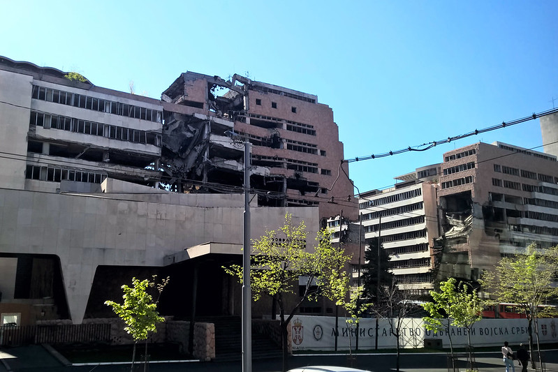 Bombed out building in Belgrade, Serbia