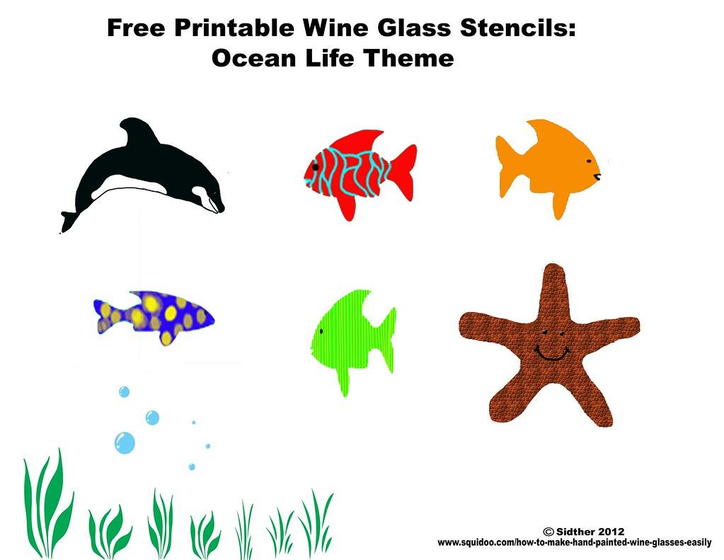 free printable wine glass stencils ocean life fish paintin u2026 flickr