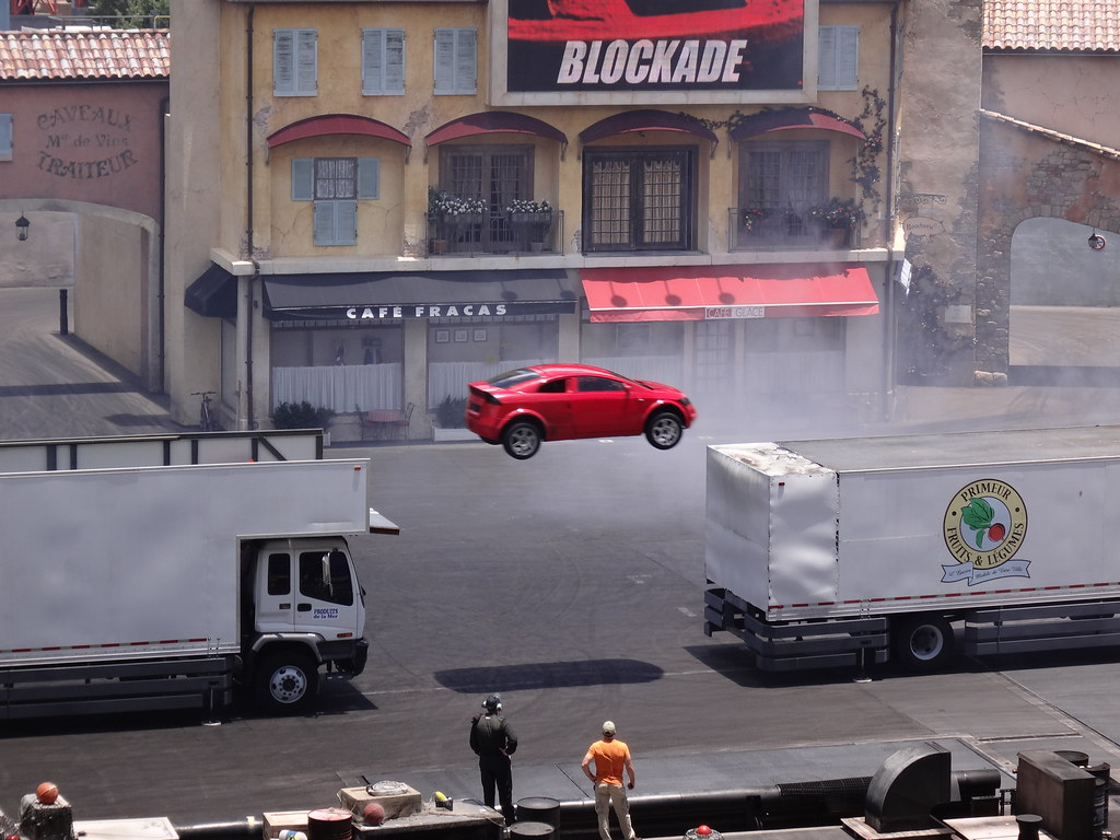 Jumping Car at Lights Motors Action Extreme Stunt Show in Disney 39 s