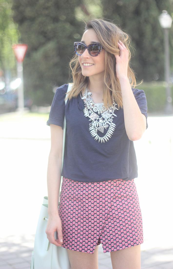 Shorts, Pink, Blue, Uterqüe, Heels, 08