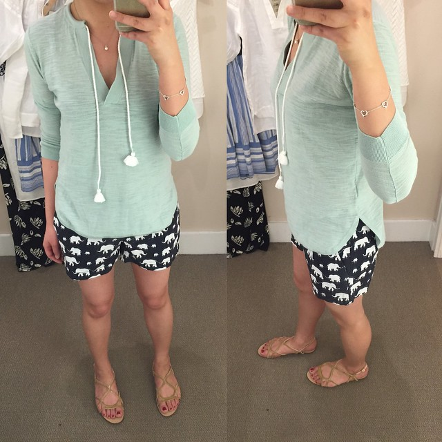 LOFT Summer Sweater (size XSP) & Elephant Riviera Shorts with 4 inch inseam (size 00)