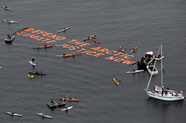 Floating Banner Defend The Arctic Climate Justice Now
