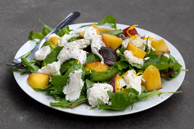 Meyer Lemon Tossed Mixed Leaves with Peaches, Mozzarella & Lemon Basil