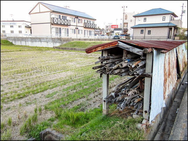 Backstreets of Okazaki near Yamasa. Rice Field. Shed.