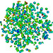 This HOSS simulation shows a cluster of  general-shape 3D particles interacting with each other.