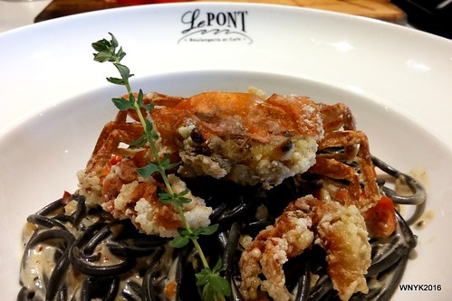 Squid Ink Spaghetti with Soft Shell Crab