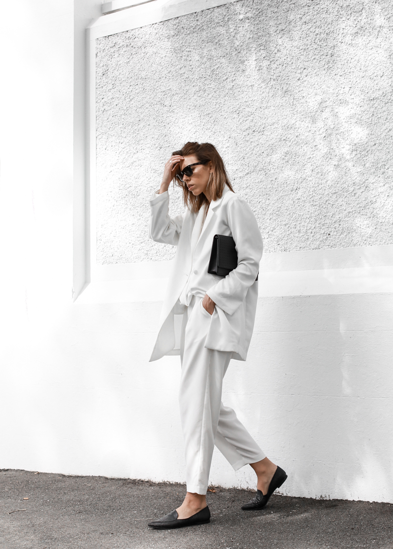 modern legacy, all white, monochrome, street style, BC the label, suiting, layering, Anine Bing, pointed flats (1 of 1)