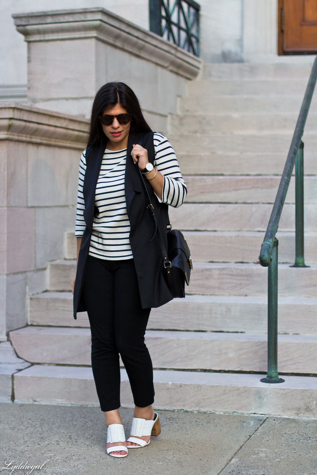 long black vest, striped shirt, white mules, black pants-3.jpg