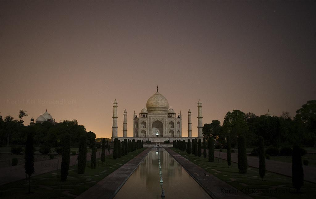 Night View Of Taj Mahal The Taj Mahal Is Considered One