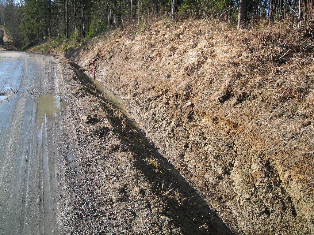 Finland Kuorevesi Gravel Road Unstable Ditch Slope Spring