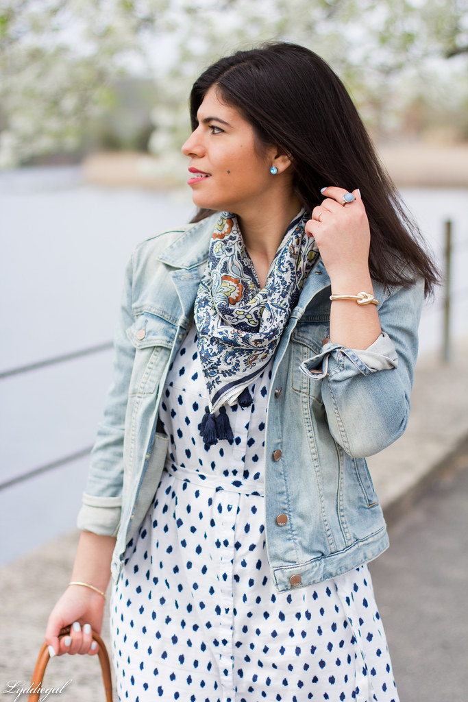 polka dot shirt dress, denim jacket, scarf-10.jpg
